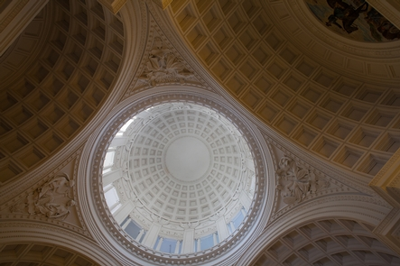 The Upper Dome of the MausoleumThe dome of the memorial stretches 150 feet into the sky. On its four corners are four allegorical sculptures, executed by J. Massey Rhind.