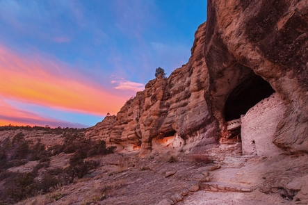 Winter Solstice Sunrise at Gila Cliff DwellingsVisitors enjoy panoramic views of the canyon and dwellings at Gila Cliff Dwellings.