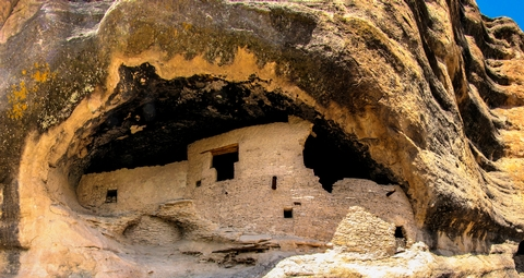 Mogollon Cliff Dwelling with T DoorThe T-shaped door suggests trade between Mogollon and Ancestral Puebloan.