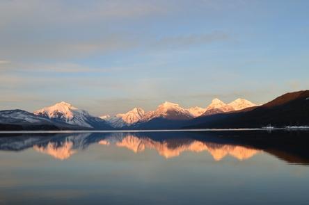 Lake McDonald at SunsetSunset on the mountains at the head of Lake McDonald