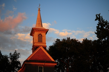 Steeple of the Gloira Dei ChurchThe Church building at Gloria Dei 'Old Swedes' has been in use since 1700, making it the oldest church building in Pennsylvania and the second oldest in the United States.  The steeple was completed in 1703.