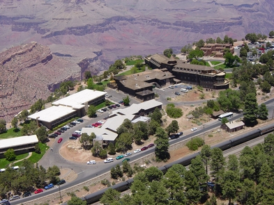Aerial View of Grand Canyon VillageAerial view of the El Tovar Hotel, Hopi House, Colter Hall and Kachina Lodge. Passenger train at the station, in the Historic District on the South Rim of Grand Canyon National Park