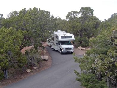 RV in campsiteMaximum vehicle length is 30 feet.