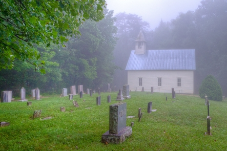 A Foggy Morning at Cades Cove Methodist ChurchHistoric buildings such as churches, gristmills, barns, and homes allow visitors to get a feel for life in the mountains before the national park was created.