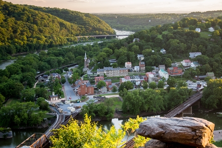 View of Lower Town Harpers Ferry as seen from Maryland Heights