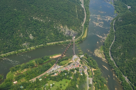 Aerial view of Lower Town Harpers Ferry