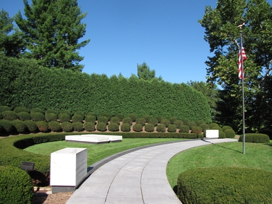 Gravesite of President & Mrs. HooverTwo simple marble slabs mark the graves of Herbert and Lou Henry Hoover.