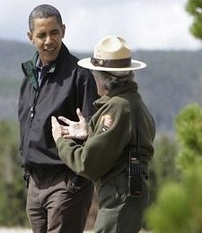 President Obama and a Park RangerPresident Barack Obama walks with Park Ranger Katy Duffy