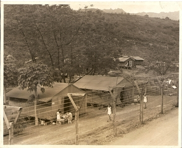 Compound 5A view of daily life at Honouliuli Internment Camp. c. 1945
