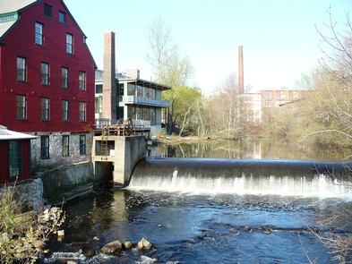 Falls at WhitinsvilleThe falls at Whitinsville, with the 1826 Brick Cotton mill on the left, and part of the Whitin Machine works in the background