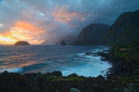 Kalawao at SunriseKalawao with its rocky shoreline was the landing spot for the first Hansen's disease patients sent to Kalaupapa.