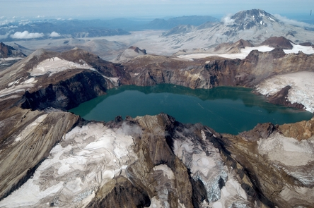 Mount Katmai calderaMount Katmai's summit collapsed during the 1912 Novarupta-Katmai eruption. Today, the caldera is filled with a deep lake.
