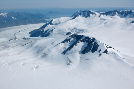 Above Bear GlacierFlightseeing over the Harding Icefield provides amazing opportunities to view glaciers, like Bear Glacier, from a different perspective.