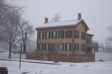 Lincoln Home in winterLincoln Home during a snowstorm