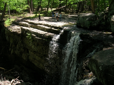 Ringing Rocks County ParkVisitors overlook the waterfall