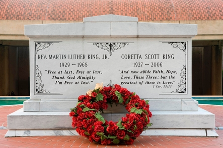 The Tomb of Dr. and Mrs. Martin Luther King, Jr.The Tomb of Dr. and Mrs. Martin Luther King, Jr.  rests on a brick island within a reflecting pool.