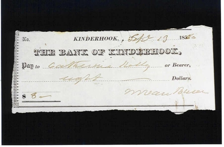 Paycheck from Martin Van Buren to Irish Servant Catherine KellyMany of the domestic workers at Lindenwald were Irsh.  They are emblamatic of the great waves of immigrants which beagn arriving in the United states during the ante bellum period.