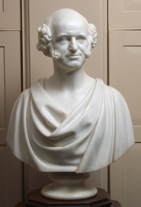 Martin Van Buren by Hiram PowersThis bust of van Buren which is in the library of Lindenwald was sculpted by Hiram Powers.  Another version of the bust may be found in the Red Room of the White House.