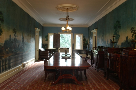 Lindenwald's Main HallThe main hall and dining table at Lindenwald were used by President Van Buren to not only entertain, but to use his skills to bend political issues his way through the ante bellum period.