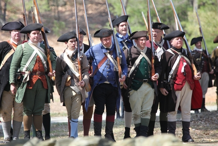 The minute men prepare for battle.The minute men prepare to defend their families, homes and rights.