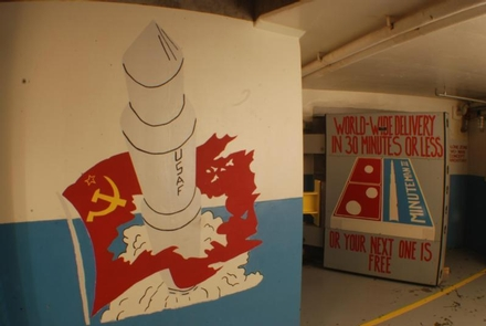 """Cold War """"Blast Door"""" art at Delta-01Morale art reminded missile officers who the enemy was during the Cold War"""