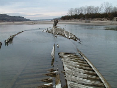 Remains of a sunken steamboat in Missouri River.Sunken remains of the North Alabama steamboat appears only when water is low.