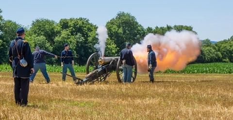 Artillery FiringUnion soldiers fire an artillery piece in commemoration of the battle.