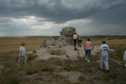 Porters Rock, WyomingVisitors approach Porters Rock in Wyoming.