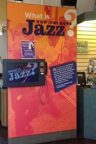 """Visitor Center Exhibit at New Orleans Jazz National Historical Park""""What is New Orleans Jazz?"""" A visit to the park's main visitor center at 916 North Peters Street will answer the question."""