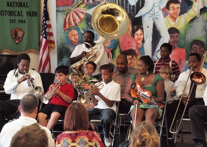 Visitor Center Concert at New Orleans Jazz National Historical ParkPassing jazz traditions from one generation to the next is an important part of the park's mission---and great listening too!