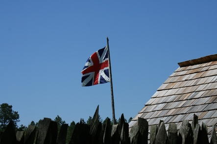 Flag at StockadeA British flag flies over the stockade fort.