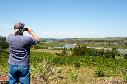Taking photos along the Niobrara NSRParts of the river are shallow and meandering, making beautiful backdrops for people to take photographs.