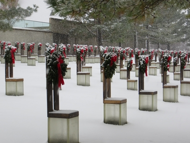 Snow on Empty ChairsThe Memorial becomes a silent place during the rare winter snow storms that blow through. The cold and quiet house a stillness made for reflection as one walks through the Field of Empty Chairs.