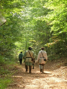 Alexander's Ford TrailReenactors march along the historic trail at Alexander's Ford in North Carolina.