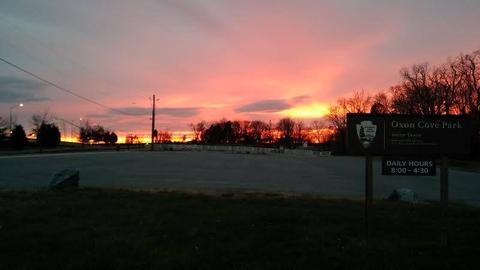 Sunset at Oxon Cove ParkThe sun sets at the main entrance to Oxon Cove Park & Oxon Hill Farm