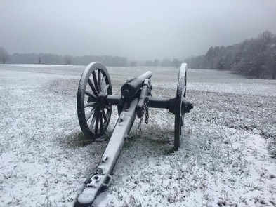 Snow Covered CannonSoldiers spent months in the trenches around Petersburg, including snowy winter mornings.