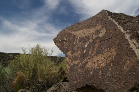 Desert Mammal petroglyphMammal petroglyph along the Mesa Point Trail in Boca Negra Canyon.