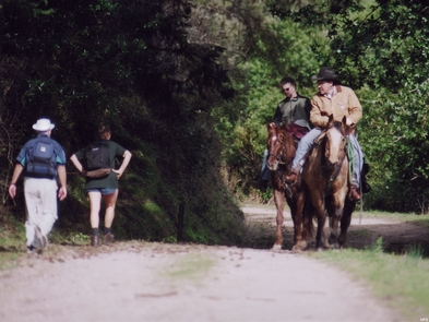 Hikers and horse riders on Bear Valley TrailHikers and horse riders on Bear Valley Trail.