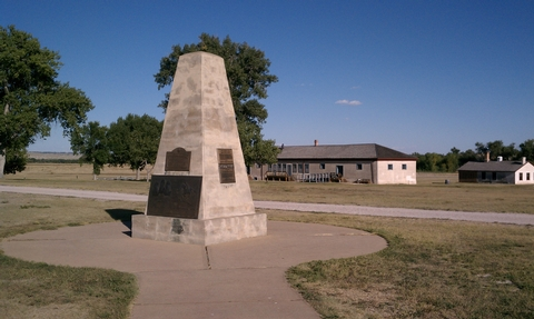 Fort Laramie NHS monument, WyomingA monument and plaque about the Pony Express can be found at Fort Laramie in Wyoming.
