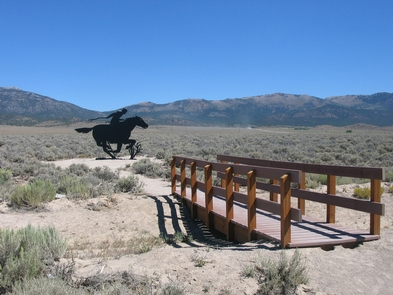 Schelbourne Station, NevadaA Pony Express rider silhouette can be found at the Schelbourne Station site in Nevada.