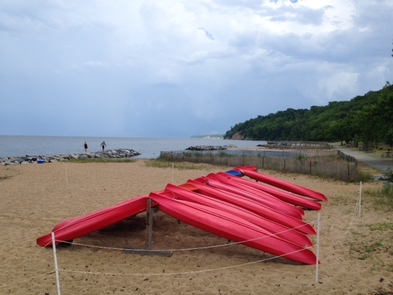 Virginia's Northern NeckKayaks are ready for paddlers on the beach!