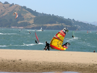 Wind Surfers at Crissy FieldOn windy days, Crissy Field is a popular wind surfing and Kite boarding location.