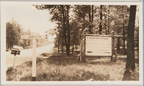 Historic Park Sign for Chopawamsic RDAA sign on Joplin Road marks the park entrance in the mid-1930s.