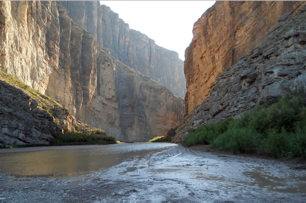 Santa Elena CanyonThe Rio Grande runs through the high-walled Santa Elena Canyon.