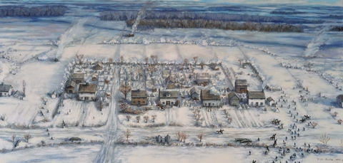 Battle of the River RaisinThe January 22, 1813 Battle raging in the snowy village of Frenchtown