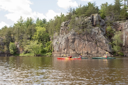 The St. Croix DallesThe scenic Dalles of the St. Croix River provide dramatic backdrops for paddlers.