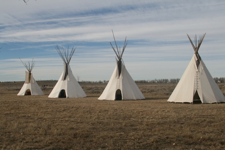 Cheyenne Lodges at DawnCheyenne and Arapaho Lodges erected in commemoration of the 150th Year of the Sand Creek Massacre