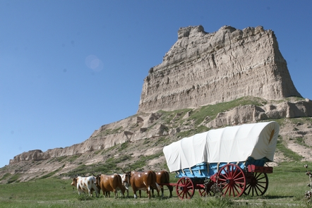 Eagle Rock with Conestoga WagonThousands of covered wagons rolled by Eagle Rock in the mid nineteenth century.