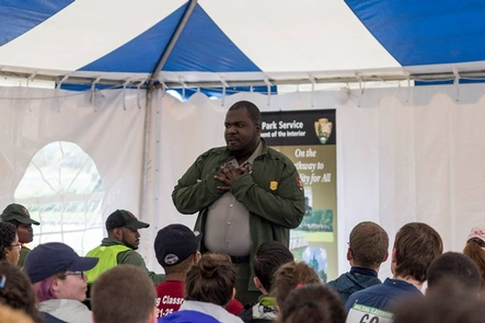 Words from The HeartHundreds of visitors take a moment to listen a Park Ranger speak from the heart.