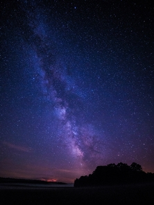 Milky Way, lightning, and ground fogThe night sky--nothing better; the Milky Way reaches across the sky